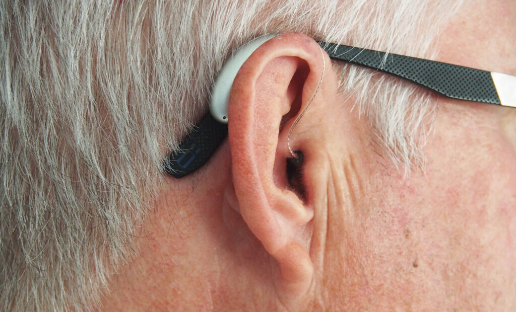 ear with a hearing aid on